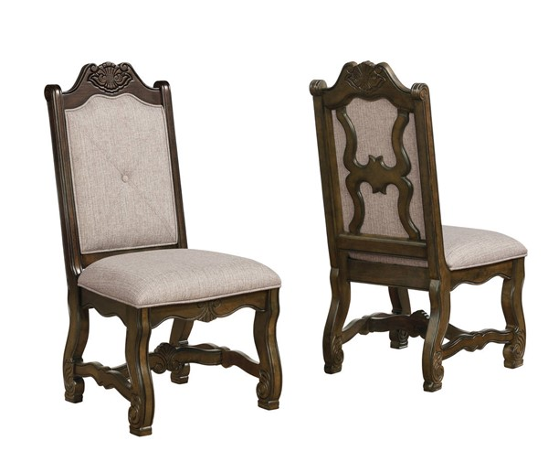 2 Crown Mark Neo Renaissance Brown Assembled Side Chairs CRW-2420S-ASSEMBLED