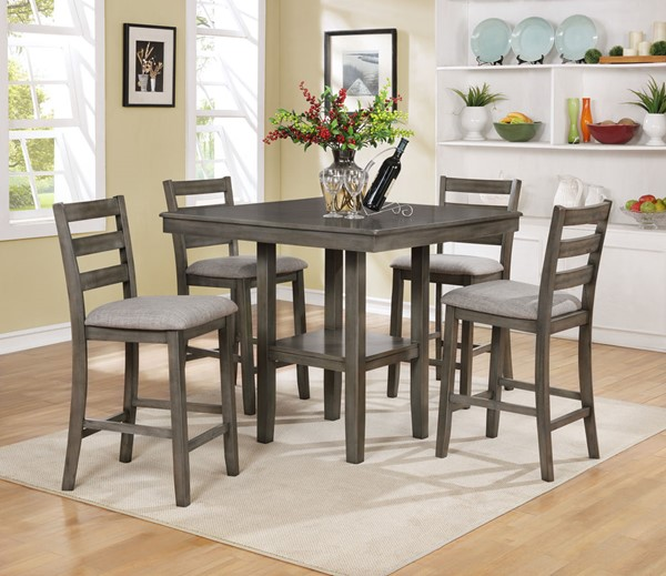 Crown Mark Tahoe Grey 5pc Counter Height Set CRW-2630SET-GY