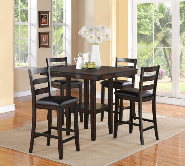 Crown Mark Tahoe Brown 5pc Counter Height Table Set CRW-2630SET