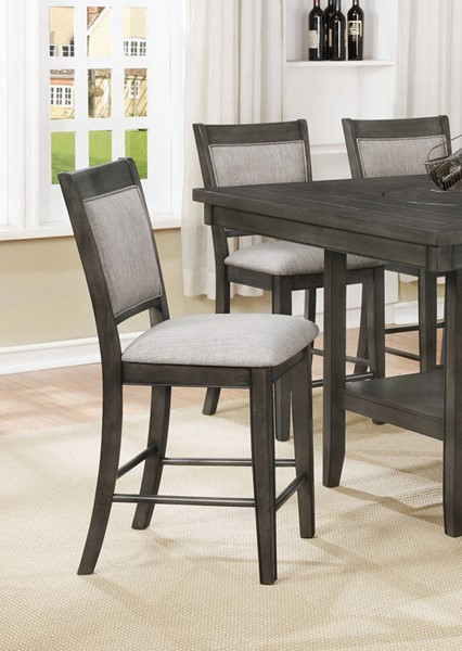 2 Crown Mark Fulton Grey Counter Height Chairs CRW-2727GY-S-24