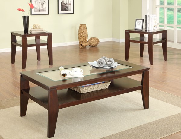 Crown Mark Scott Brown 3pc Coffee Table Sets CRW-3707SET