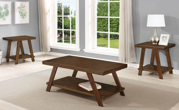 Crown Mark Samhorn Brown 3pc Occasional Table Set CRW-4202SET