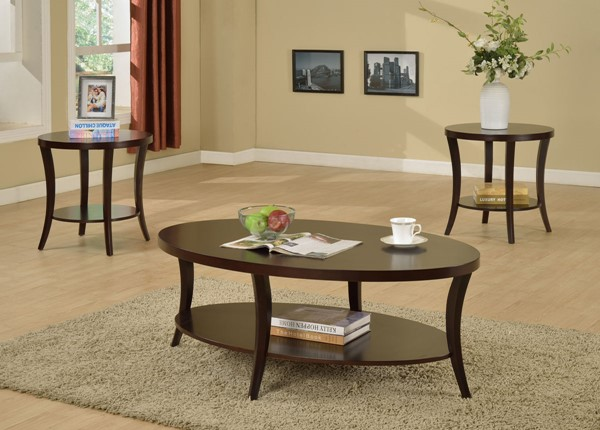 Crown Mark Rhonda Brown 3pc Coffee Table Set CRW-4247SET