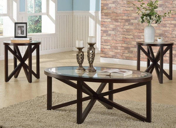 Crown Mark Cole Brown 3pc Occasional Table Set CRW-4249SET