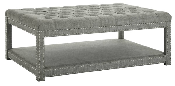 Crown Mark Mansfield Grey Cocktail Ottoman with Caster CRW-4250-GY