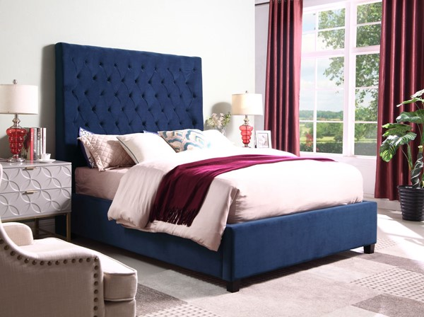 Crown Mark Aster Navy King Bed CRW-5113NV-K-BED-S1
