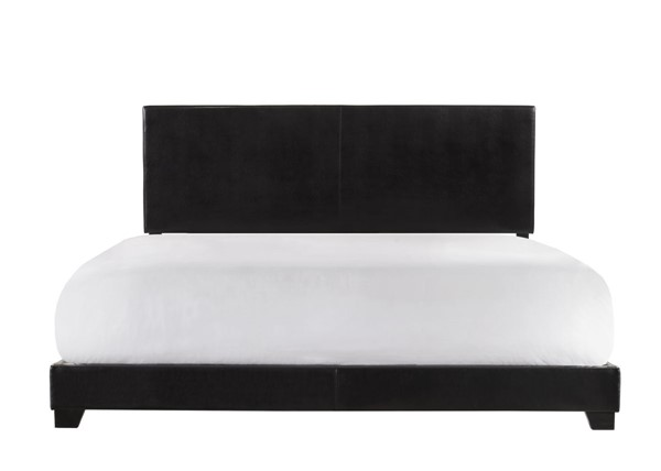 Crown Mark Erin Black King Faux Leather Panel Bed CRW-5271PU-K