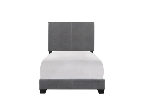 Crown Mark Erin Grey Twin Faux Leather Panel Bed CRW-5271PUGY-T