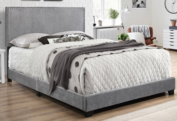 Crown Mark Erin Grey Velvet Twin Bed CRW-5271VLGY-T-NH