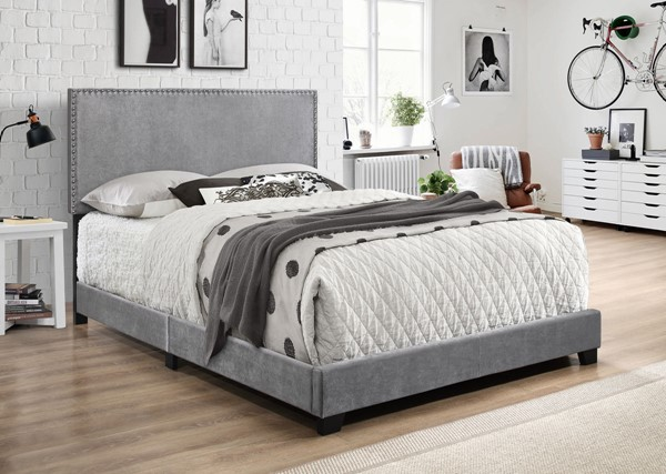 Crown Mark Erin Grey Velvet Queen Bed CRW-5271VLGY-Q-NH