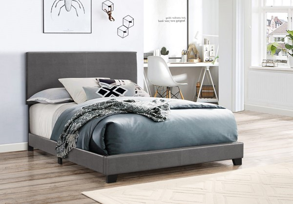 Crown Mark Erin Grey King Faux Leather Panel Bed CRW-5271PUGY-K