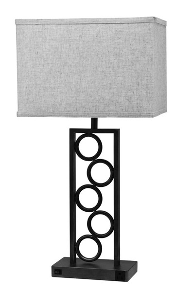 2 Crown Mark Stack Beige Brown Circle Lamps with Outlet CRW-6234T