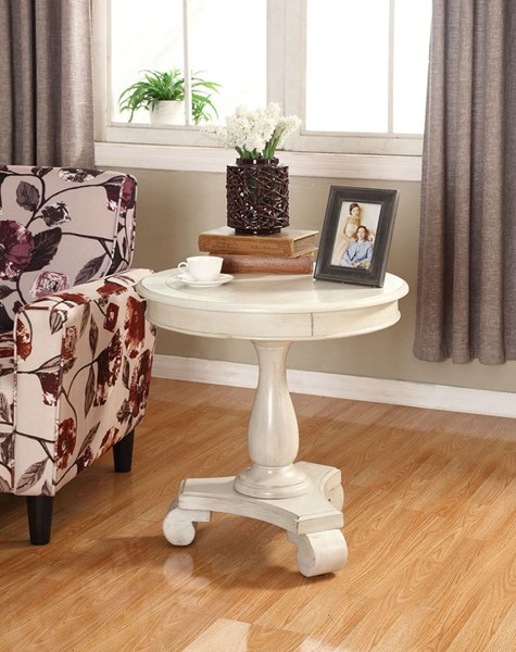 Crown Mark Constance Ivory Round End Table CRW-7167-IV