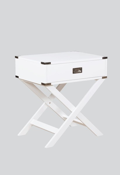 Crown Mark Hudson White Chairside Table CRW-7168-WH