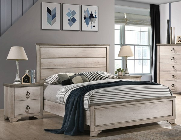 Crown Mark Patterson Grey 2pc Bedroom Set with Full Panel Bed CRW-B3050-BR-S2