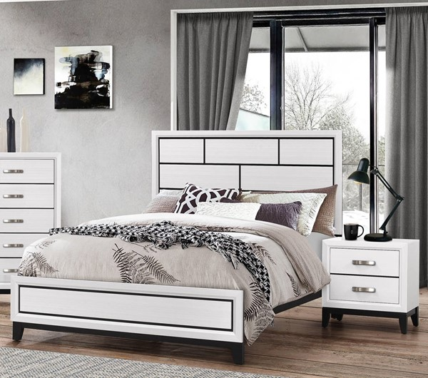 Crown Mark Akerson White 2pc Bedroom Set with Queen Bed CRW-B4610-Q-BR-S5