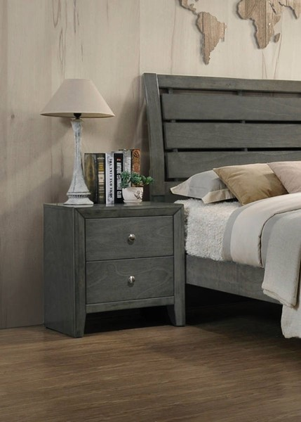Crown Mark Evan Grey Two Drawers Night Stand The Classy Home