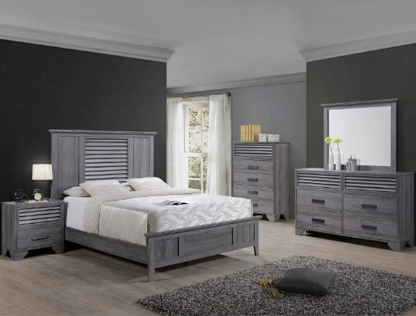 Crown Mark Sarter Weathered Grey Two Drawers Nightstand