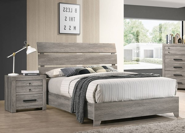 Crown Mark Tundra Grey 2pc Bedroom Set with Queen Bed CRW-B5520-BR-S2
