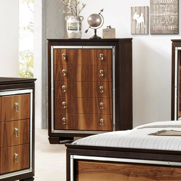 Crown Mark Kelda Walnut 5 Drawer Chest The Classy Home