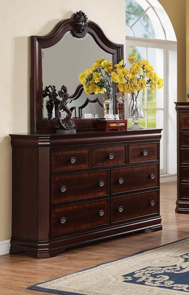 Crown Mark Charlotte Cherry Dresser And Mirror CRW-B8300-DRMR