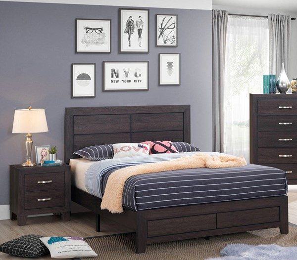 Crown Mark Hopkins Brown 2pc Bedroom Set with Full Platform Bed CRW-B9300-BR-S1