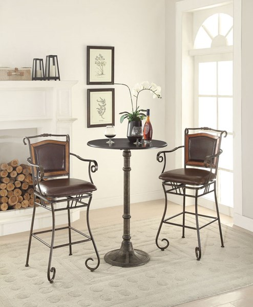 Oswego Bronze Metal Faux Leather Counter Height / Bar Set CST-100064-BAR