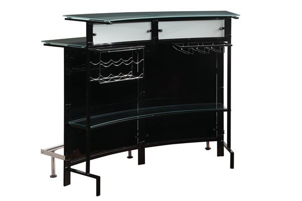 Coaster Furniture Black Chrome Glass Top Bar Table CST-100139