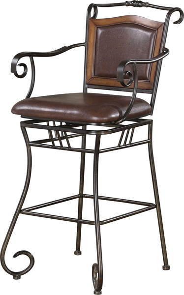 Oswego Traditional Bronze Metal Faux Leather Bar Stool CST-100159