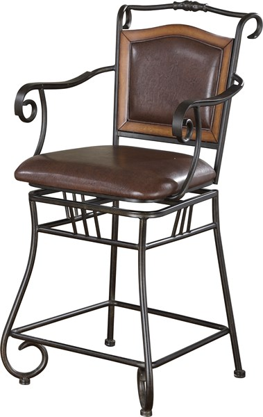 Traditional Black Metal Solid Back Bar Stool CST-100160