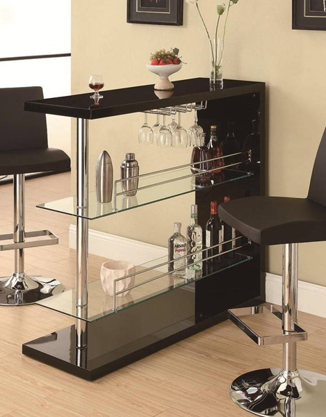 Contemporary Black Glass Metal Bar Table CST-100165