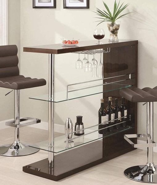 Contemporary Cappuccino Glass Metal Bar Table CST-100166