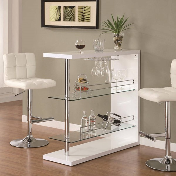 Coaster Furniture White Glass Bar Table The Classy Home