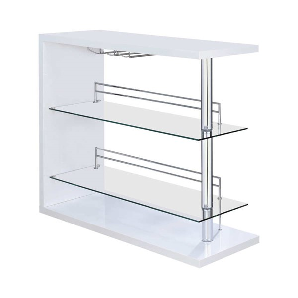 Coaster Furniture White Glass Bar Table CST-100167