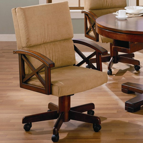 Casual Oak Solid Wood Upholstered Dining Arm Chair CST-100172