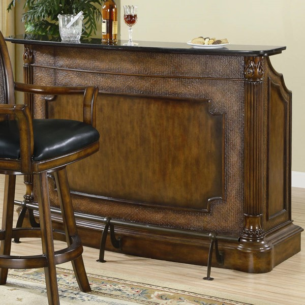 Traditional Brown Wood Marble Bar Server CST-100173