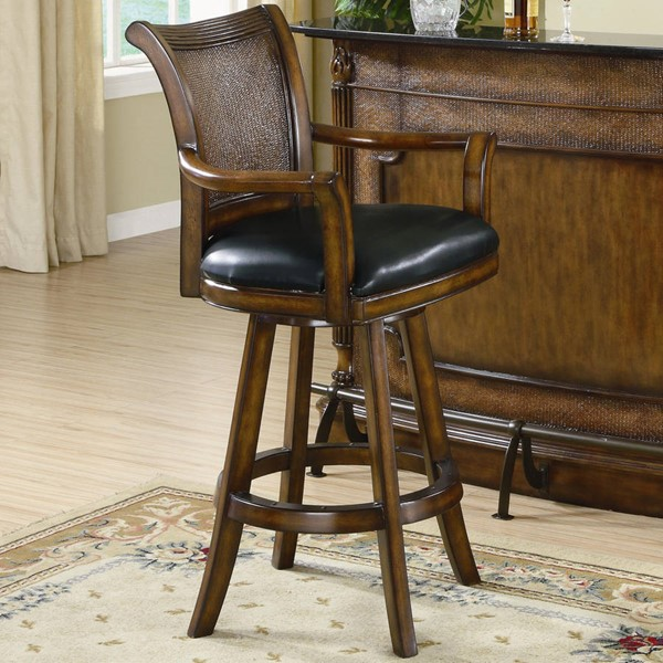 Traditional Brown Wood Leather Bar Stool CST-100174