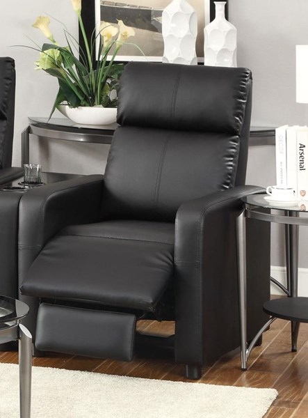 Toohey Contemporary Black Push Back Recliner And Console CST-600181RC