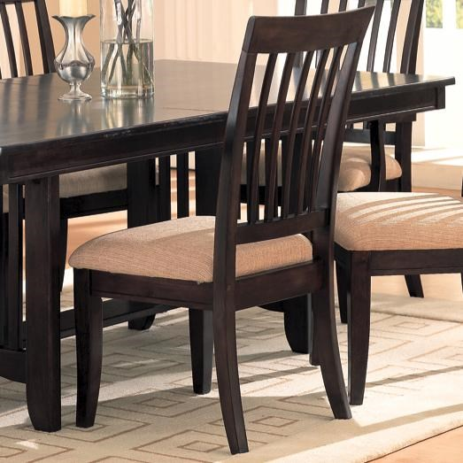2 Monaco Transitional Cappuccino Wood Natural Fabric Side Chairs CST-100182