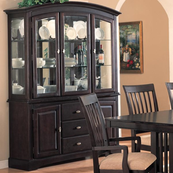 Monaco Transitional Cappuccino Wood Natural   Fabric  Hutch And Buffet CST-100184