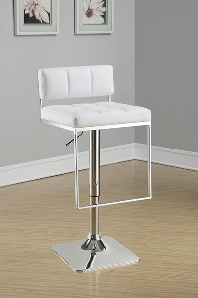 Coaster Furniture White Metal Armless Adjustable Bar Stool CST-100193