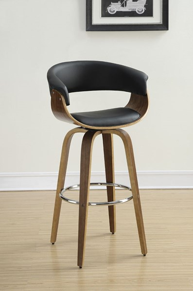 Walnut Black PU Wood Low Back Barstool w/Foot Rest CST-100205