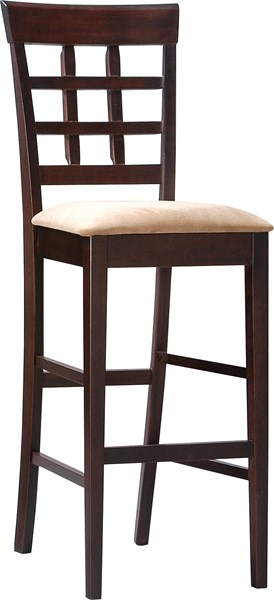 2 Contemporary Mocha Wood Microfiber 29 Inch Height Bar Stools CST-100210