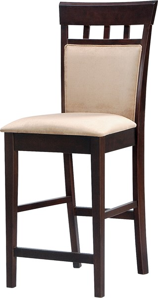 2 Traditional Mocha Fabric Seat Cappuccino 24 Inch Bar Stools CST-100219
