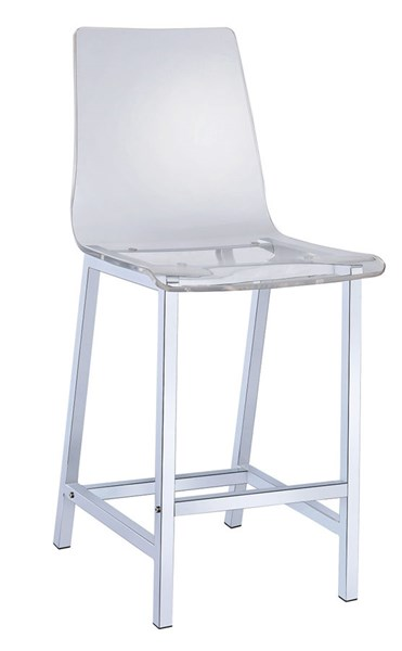 2 White Acrylic 24 Inch Height Solid Back Bar Stools CST-100265
