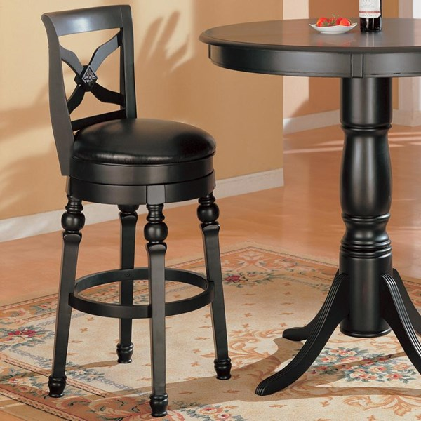 Transitional Black Wood Armless Bar Stool CST-100279