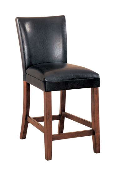 2 Transitional Cherry Wood Leather Like Vinyl Bar Stools CST-100357