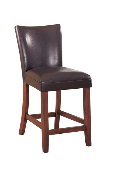 2 Transitional Cherry Brown Wood Leather Like Vinyl Bar Stools CST-100358