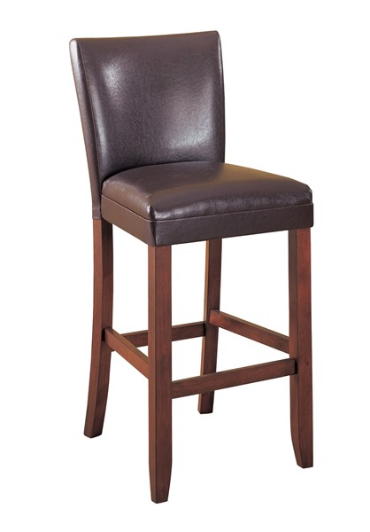 2 Transitional Cherry Brown Leather Like Vinyl Bar Stool CST-100388