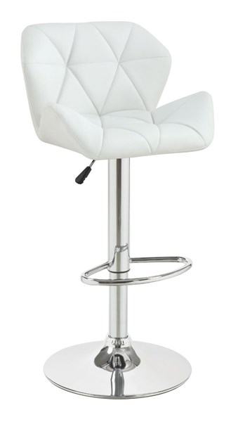 2 Coaster Furniture White Metal PU Adjustable Height Bar Stools CST-100424